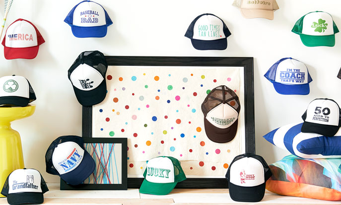Browse the Trucker Hats Collection and personalize by color, design, or style.